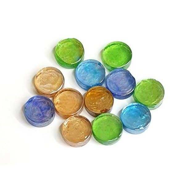 אבני זכוכית עגולות צבעוניות ליצירה