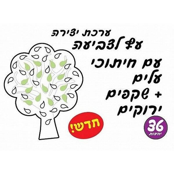 ערכת יצירה לגן ילדים עץ לצביעה עם שקף ירוק