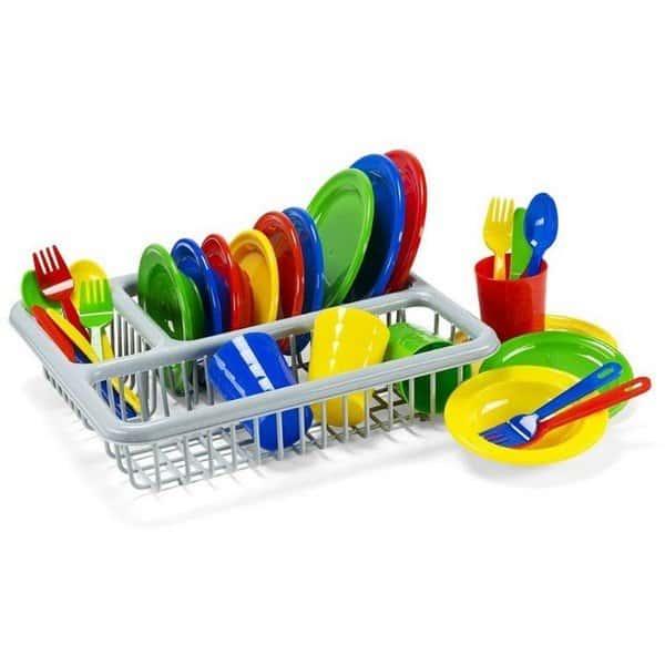 סט כלי מטבח לילדים עם מתקן לייבוש כלים