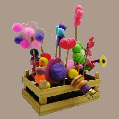 ארגז עץ מיני ליצרה עם קישוטי פרחים