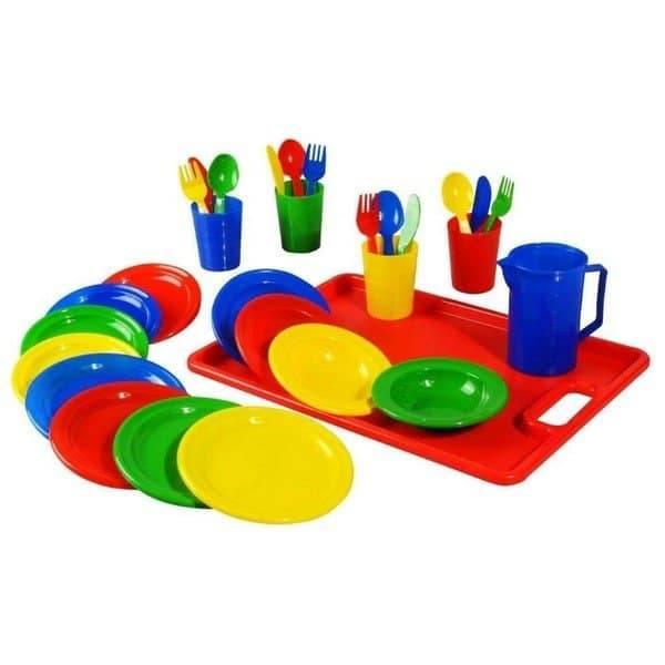סט כלי מטבח עם מגש פלסטיק למשחק ולגן ילדים