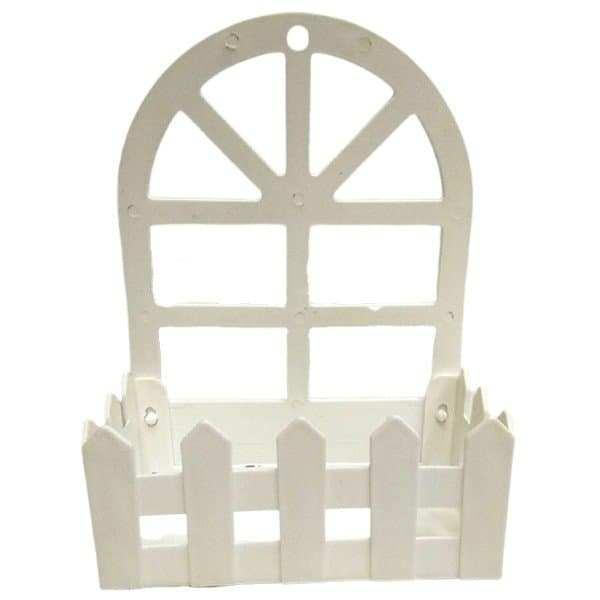 אדנית פלסטיק לבנה עם חלון ליצירה