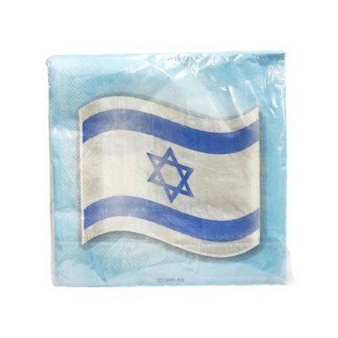 מפיות דגל ישראל כחול לבן 20 יח'