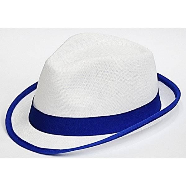 כובע רשת לבן עם פס בד כחול