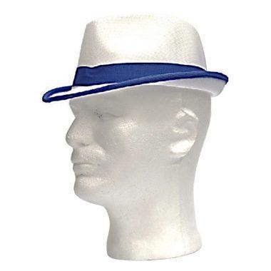 כובע בד רשת לבן עם פס כחול
