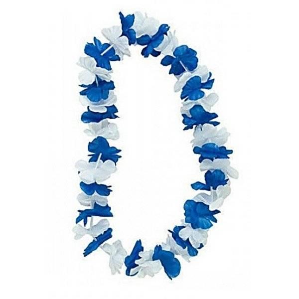 שרשרת פרחים כחול לבן למסיבה