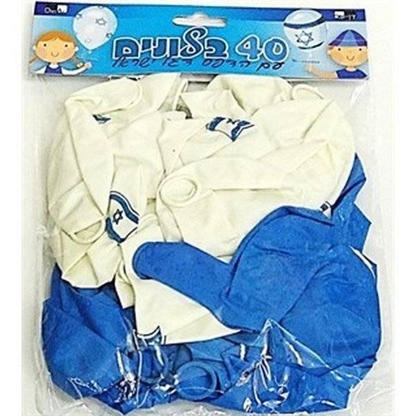 בלונים כחול לבן עם דגל ישראל 40 יח'