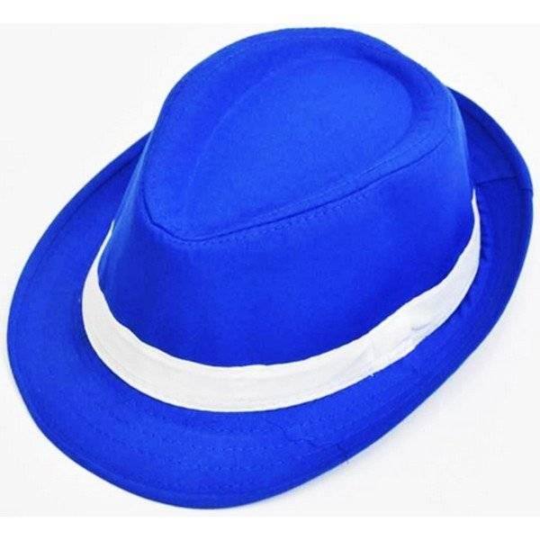כובע מגבעת כחול עם פס לבן